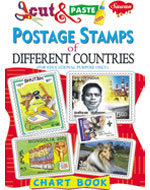 Cut & Paste Postal Stamps of Different Countries